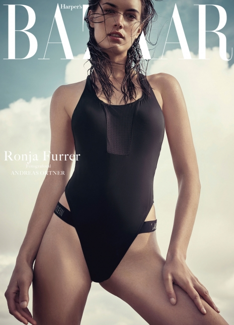 Andreas Ortner Photographer NYC Editorial Diver Swimsuit Cover Harpers Bazaar