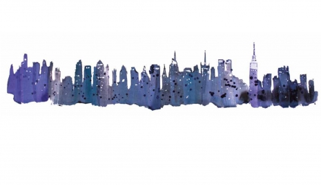 Lily Qian Illustrator NY Manhattan Skyline water color drawing