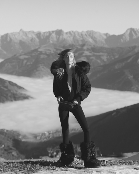 Fashion Photographer Director NYC Andreas Ortner Editorial Myself Ski Black and White