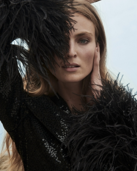 Fashion Photographer NYC Andreas Ortner ELLE Germany Ymre Closeup Sequined Dress Fashion Women