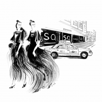 Lily Qian Illustrator Ink drawing for Net-a-Porter Girls Taxi