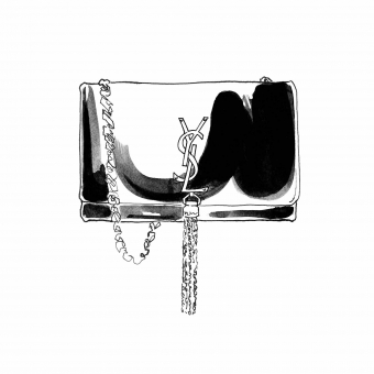 Lily Qian Illustrator Ink drawing for Net-a-Porter YSL bag