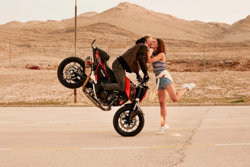 Photographer New York Sven Jacobsen Deichmann Campaign Croatia Motorbike kiss