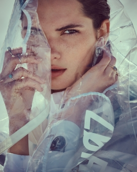 Fashion Photographer Director NYC Andreas Ortner Salt Magazine Editorial Swarovski Raincoat Fashion Women