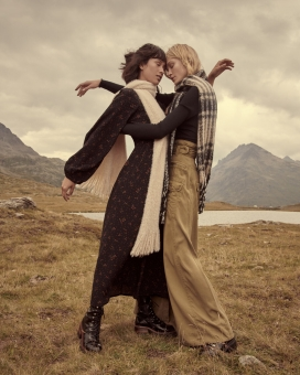 Fashion Photographer NYC Andreas Ortner Free People Holiday Campaign Two Girls Closed Eyes Fashion Advertising